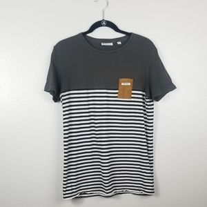 Rhythm Black White Striped Small Pocket Tee Shirt